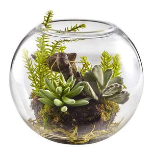 Mix Succulent Garden with Glass Vase Silk Plant