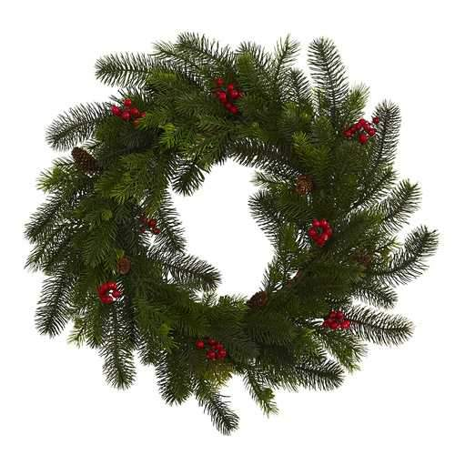 24 Pine and Berry Wreath Wreaths