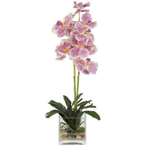 Vanda w/Glass Vase Silk Flower Arrangement