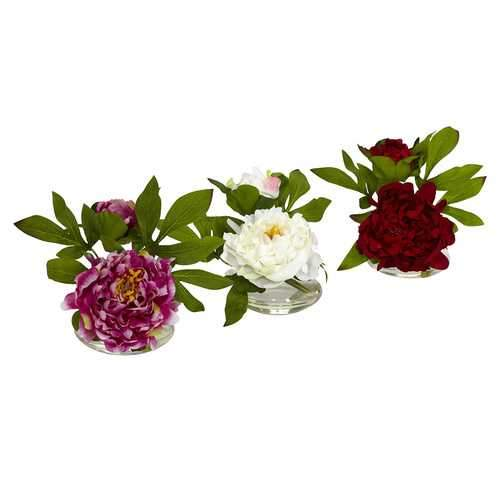 Peony w/Glass Vase (Set of 3) Silk Arrangement