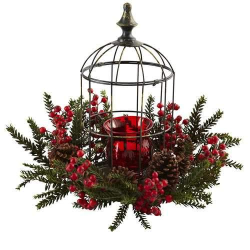 Pine Berry Birdhouse Candelabrum Silk Arrangement