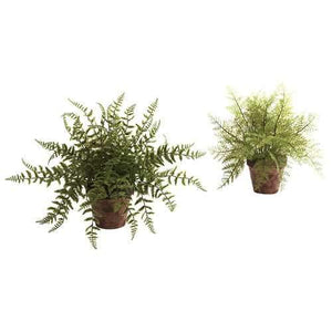 Fern w/Decorative Planter (Set of 2) Silk Plant