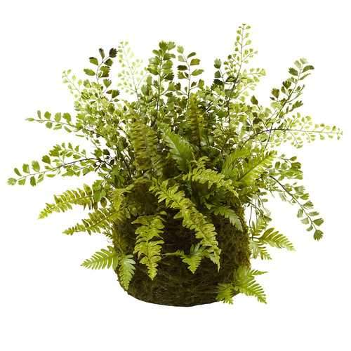 Mixed Fern w/Twig and Moss Basket Silk Plant