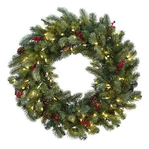 30 Lighted Pine Wreath w/Berries & Cones