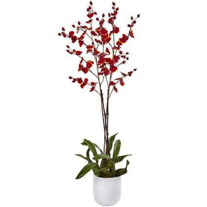Dancing Orchid w/White Glass Vase Silk Arrangement