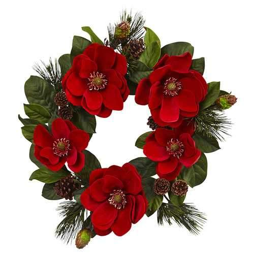 24 Red Magnolia & Pine Wreath