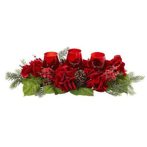 Triple Hydrangea Red Candelabrum Silk Arrangement