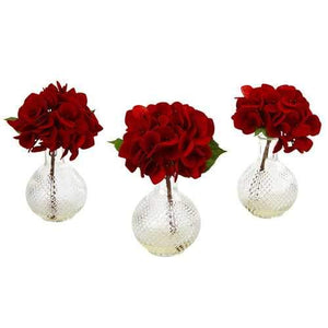 Red Hydrangea w/Glass Vase (Set of 3) Silk Arrangement