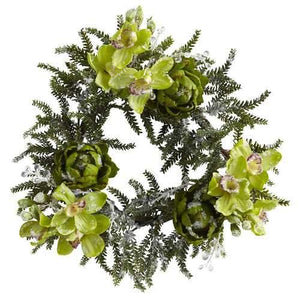 22 Iced Cymbidium & Artichoke Wreath