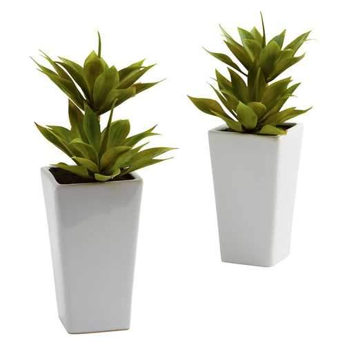 Double Mini Agave w/Planter (Set of 2) Silk Plant