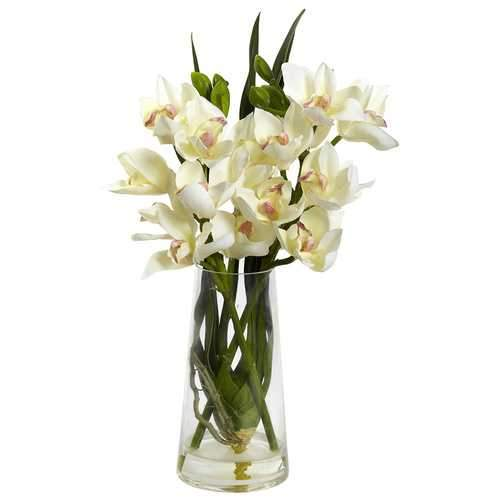 Cymbidium Orchid w/Vase Silk Arrangement