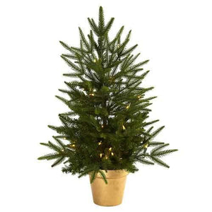 2.5 Christmas Tree w/Golden Planter & Clear Lights Silk