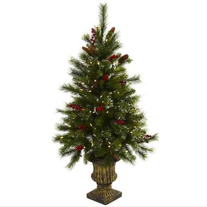 4 Christmas Tree w/Berries, Pine Cones, LED Lights & Decorative Urn Silk