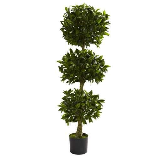 5' Triple Bay Leaf Topiary UV Resistant (Indoor/Outdoor) Silk Tree