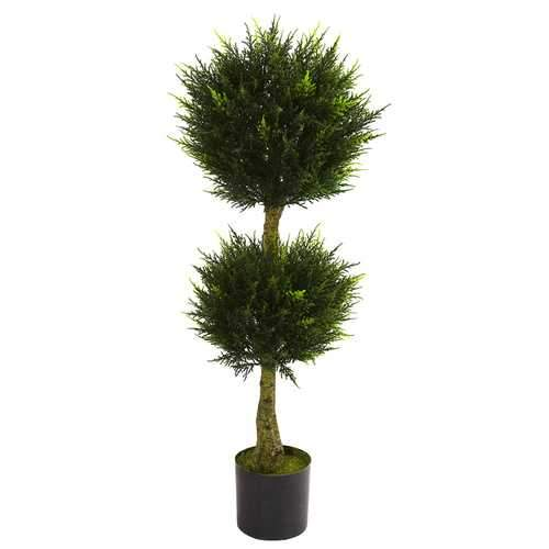 4' Double Ball Cypress Topiary UV Resistant (Indoor/Outdoor) Silk Tree