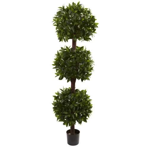 6.5 Sweet Bay Triple Ball Topiary Silk Tree