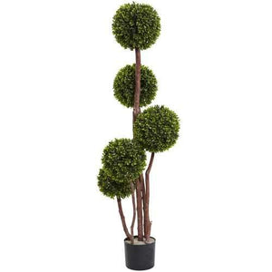 4 Boxwood Topiary x5 w/420 Lvs UV Resistant (Indoor/Outdoor) Silk Tree