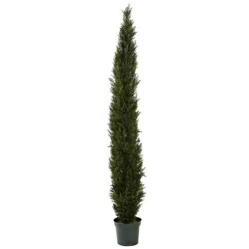 8' Mini Cedar Pine Tree w/4249 tips in 12 Pot (Two Tone Green) Silk