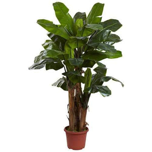 7' Giant Triple Stalk Banana Tree UV Resistant (Indoor/Outdoor) Silk