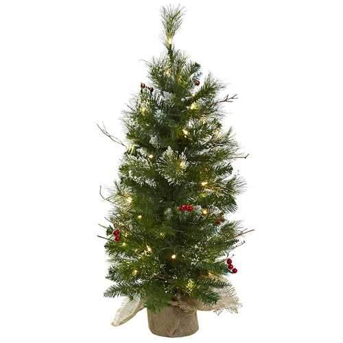 3' Christmas Tree w/Clear Lights Berries & Burlap Bag Silk