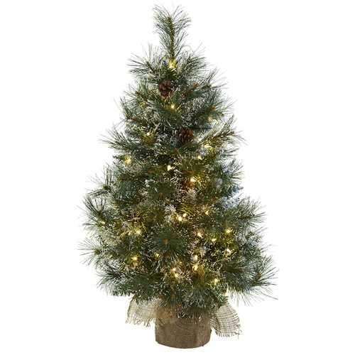3 Christmas Tree w/Clear Lights, Frosted Tips, Pine Cones & Burlap Bag Silk