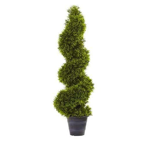 3' Grass Spiral Topiary w/Deco Planter Silk Tree