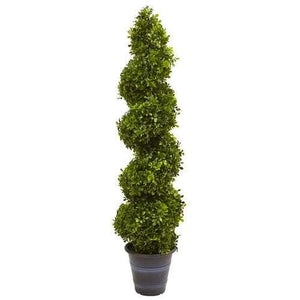 Boxwood Spiral Topiary with Planter (Indoor/Outdoor) Silk Tree