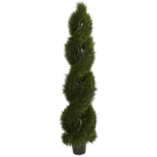 Double Pond Cypress Spiral Topiary UV Resistant (Indoor/Outdoor) Silk Trees