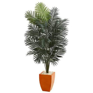 6.5 Paradise Artificial Palm Tree in Orange Planter Silk Trees