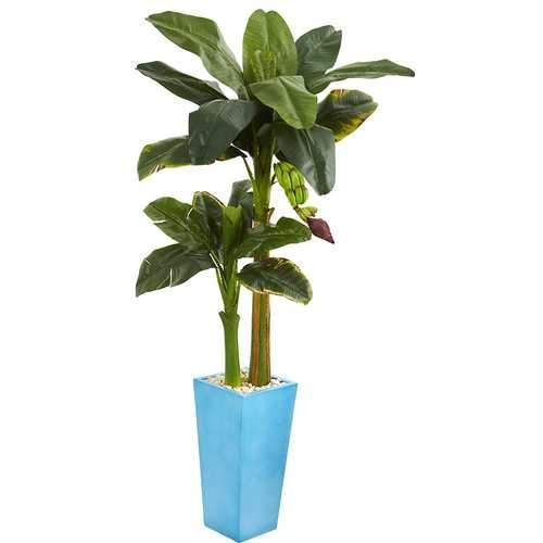 5.5 Banana Artificial Tree in Turquoise Tower Vase Silk Trees