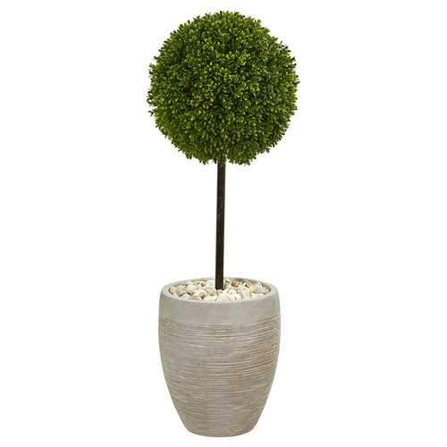 3 Boxwood Ball Topiary Artificial Tree in Oval Planter UV Resistant (Indoor/Outdoor) Silk Trees