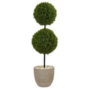 4 Boxwood Double Ball Topiary Artificial Tree in Oval Planter UV Resistant (Indoor/Outdoor) Silk Trees
