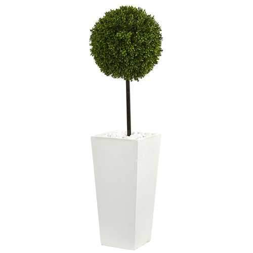3.5 Boxwood Ball Topiary Artificial Tree in White Tower Planter UV Resistant (Indoor/Outdoor) Silk Trees