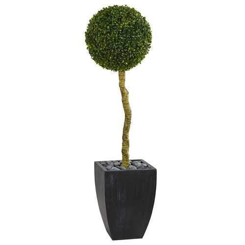 4 Boxwood Ball Topiary Artificial Tree in Black Wash Planter UV Resistant (Indoor/Outdoor) Silk Trees