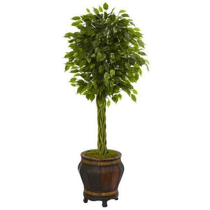 4.5 Braided Ficus Artificial Tree in Planter UV Resistant (Indoor/Outdoor) Silk Trees