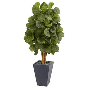 5.5 Fiddle Leaf Artificial Tree in Slate Planter Silk Trees