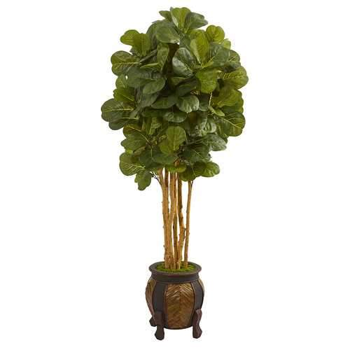 5.5 Fiddle Leaf Artificial Tree in Decorative Planter Silk Trees