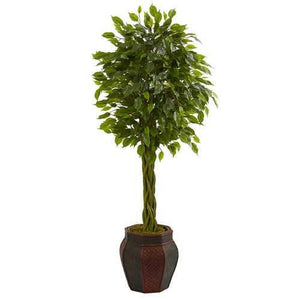 4.5 Braided Ficus Artificial Tree in Decorative Planter Silk Trees