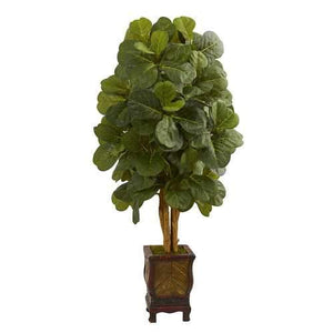 4.5 Fiddle Leaf Artificial Tree in Decorative Planter Silk Trees