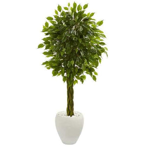 4.5 Braided Ficus Artificial Tree in White Planter UV Resistant (Indoor/Outdoor) Silk Trees