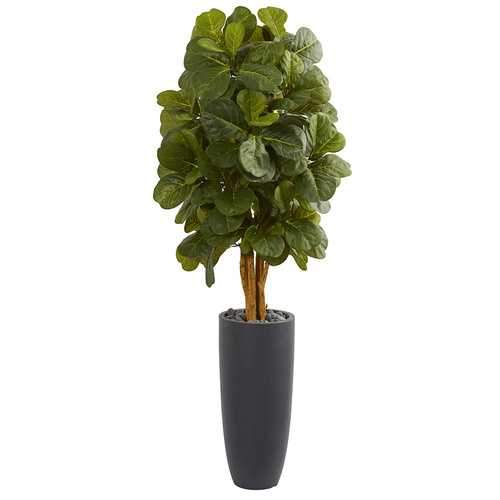 5.5 Fiddle Leaf Artificial Tree in Gray Cylinder Planter Silk Trees