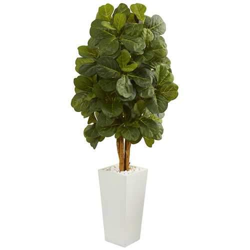 5 Fiddle Leaf Artificial Tree in White Tower Planter Silk Trees