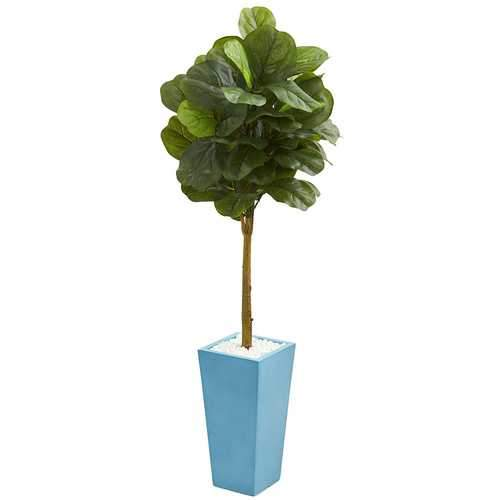 4 Fiddle Leaf Artificial Tree in Turquoise Planter (Real Touch) Silk Trees