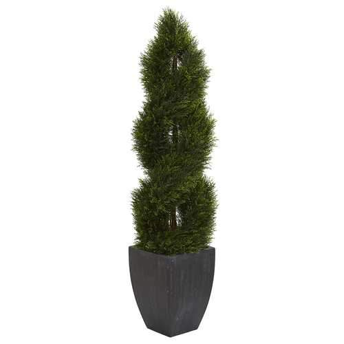 5 Double Pond Cypress Spiral Topiary Artificial Tree in Black Wash Planter UV Resistant (Indoor/Outdoor) Silk Trees