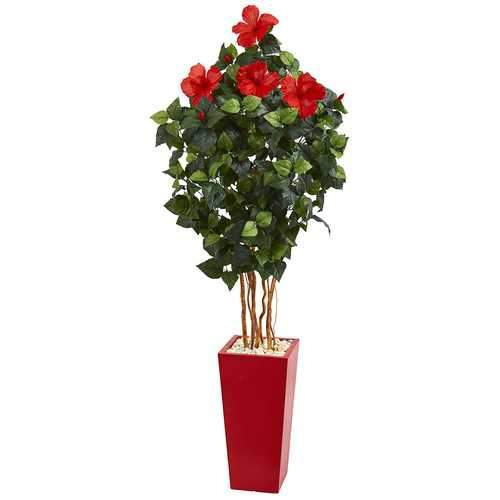 5.5 Hibiscus Artificial Tree in Red Tower Planter Silk Trees