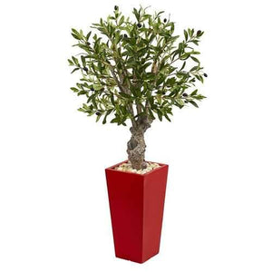 40 Olive Artificial Tree in Red Tower Planter Silk Trees