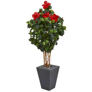 5 Hibiscus Artificial Tree in Slate Planter Silk Trees