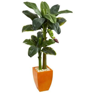 5.5 Double Stalk Banana Artificial Tree in Orange Planter Silk Trees
