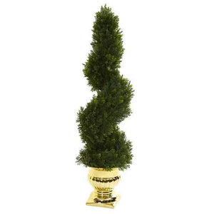 27 Cedar Spiral Artificial Topiary Tree in Gold Urn (Indoor/Outdoor) Silk Trees
