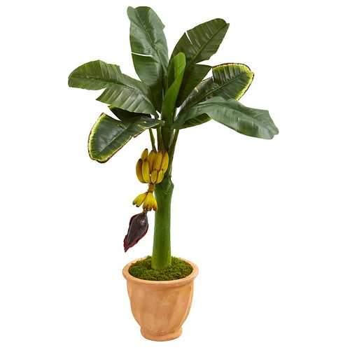 3 Banana Artificial Tree in Terracotta Planter Silk Trees